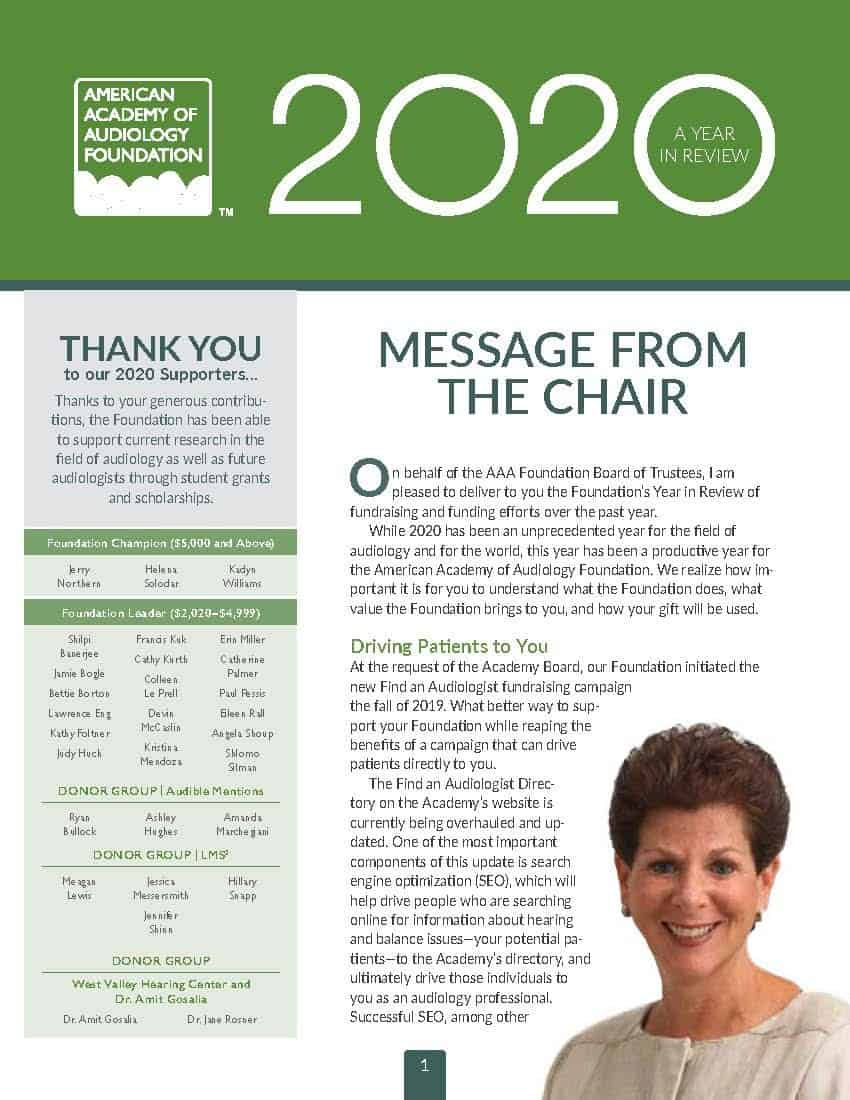 2020 Foundation Annual Report Cover