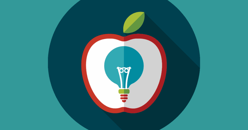 Illustration of an apple super imposed with a lightbulb