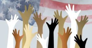 Illustration of the diversity of volunteering with hands raised in front of watercolored US flag