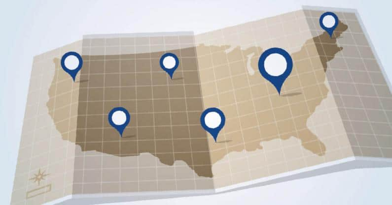 Illustration of a US map with locations marked off