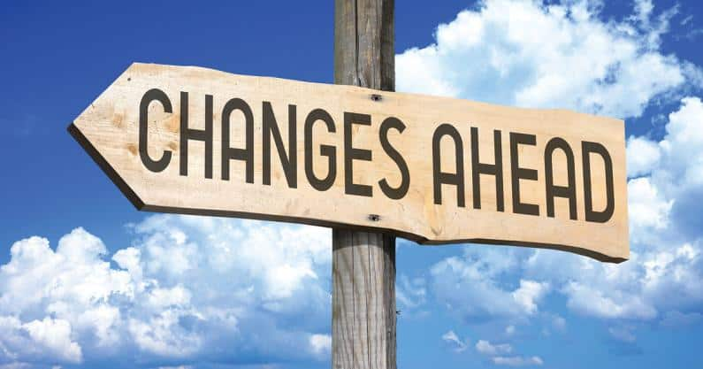 """Photo of directional sign that says, """"Changes Ahead"""""""