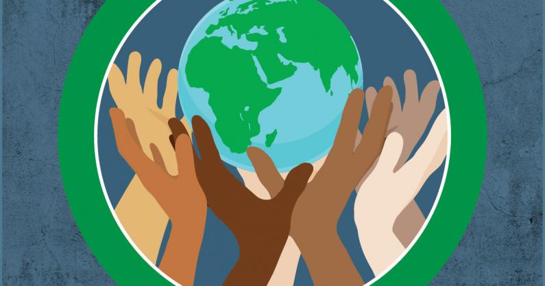 Illustration of diverse hands holding up the world