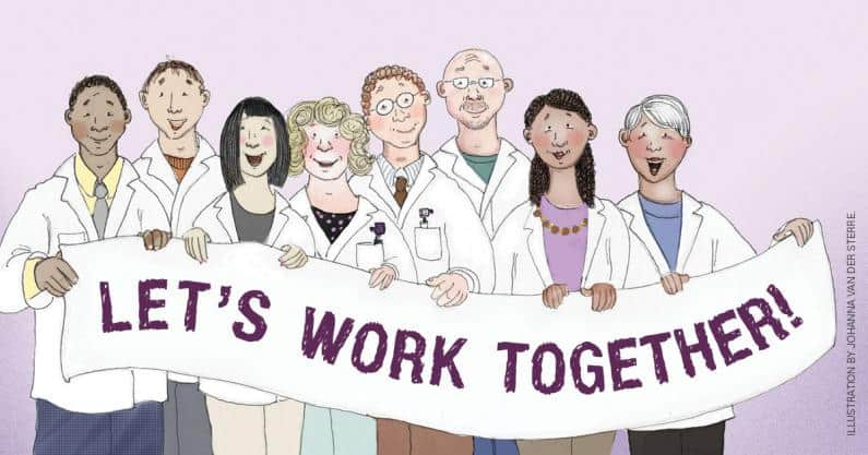 Illustration of a group of audiologists holding up a sign