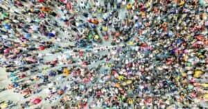 Top-view photo of a crowd of people