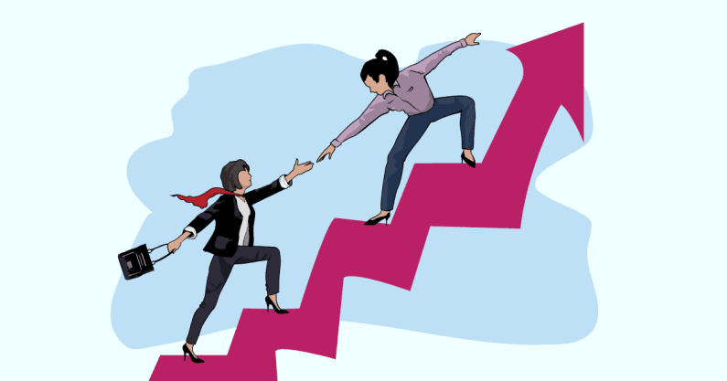 Illustration of one woman helping another on an upward moving arrow in the sky