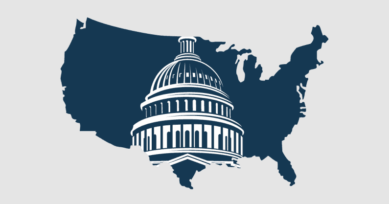 Combined illustration of the United States and the top of the Capital building