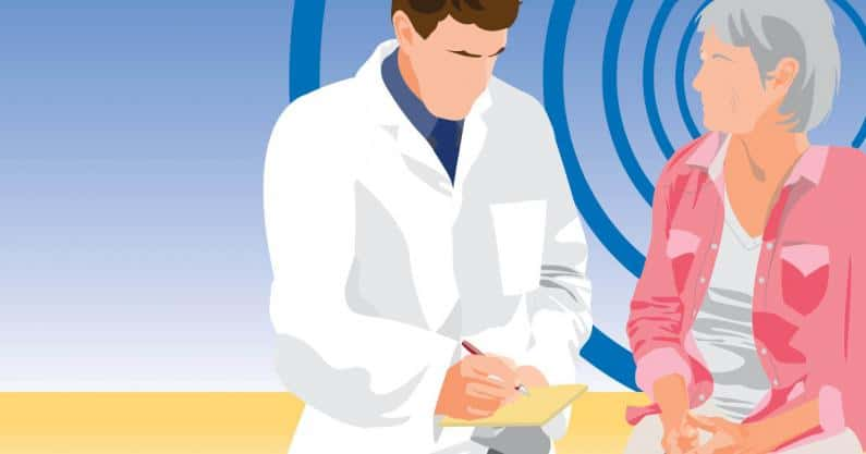 Illustration of patient consulting with audiologist