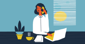 Illustration of audiology assistant answering phone in the office