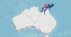 Illustration of a kangaroo with Austrailian Flag hopping onto the Austrailian continent shape