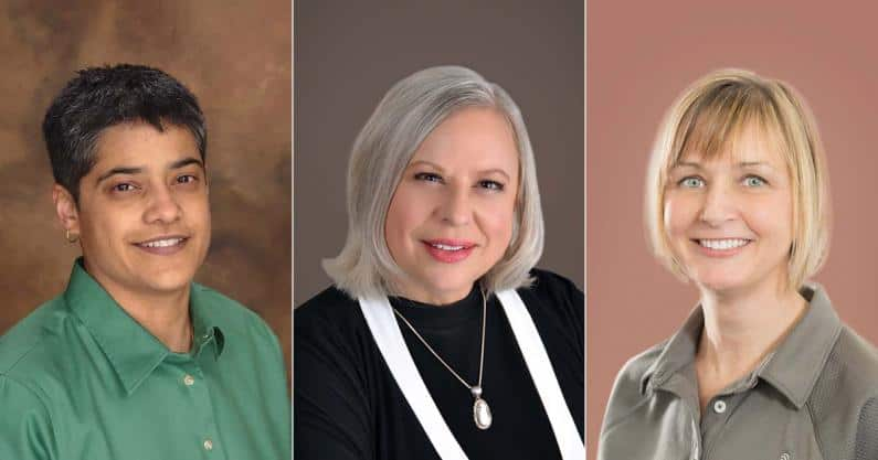 Photos of Shilpi Banerjee, PhD; Jane Kukula, AuD; and Mindy Brudereck Tanner, AuD