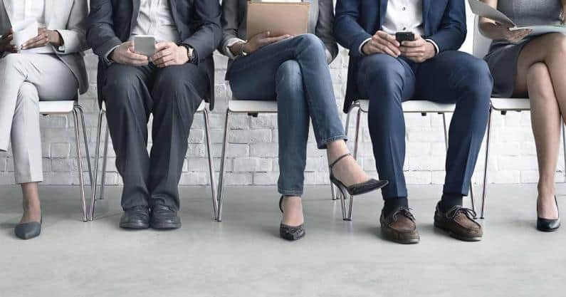 Photo of a group of candidates interviewing for a job