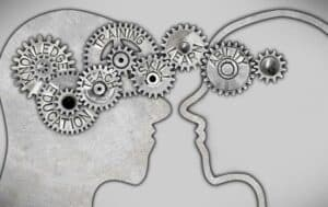 Close-up abstract illustration of two individuals sharing knowledge