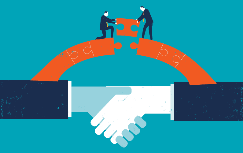 Illustration of working together to make a deal