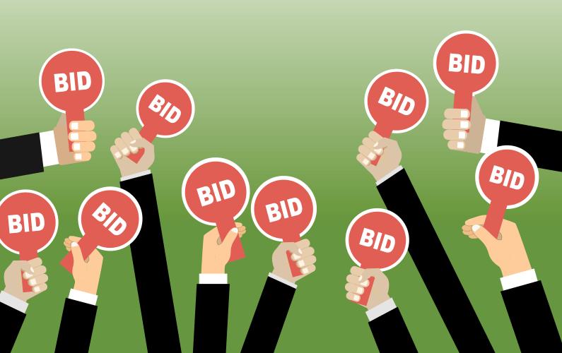 Illustration of diverse group of hands holding up bidding paddles