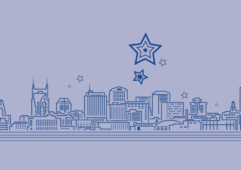 Abstract line illustration of Nashville with stars on horizon