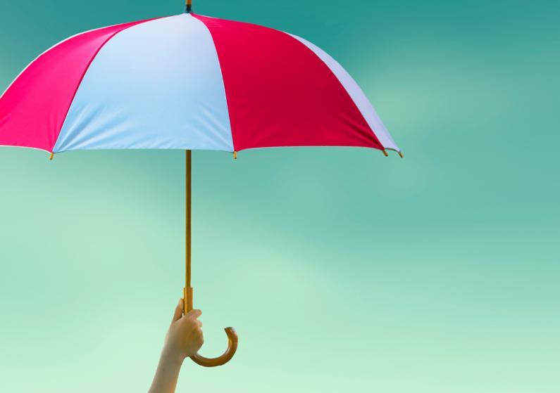 Close-up photo of hand holding an umbrella