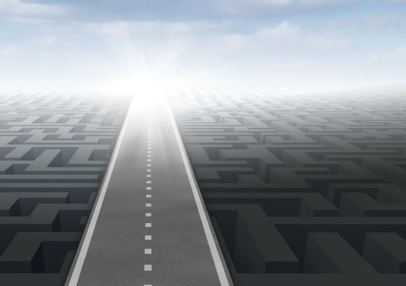 Illustration of a road over a maze receding into the horizon