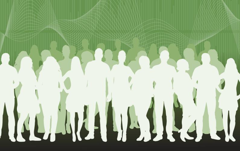 Abstract illustration of group of silhouetted professional in front of soundwave