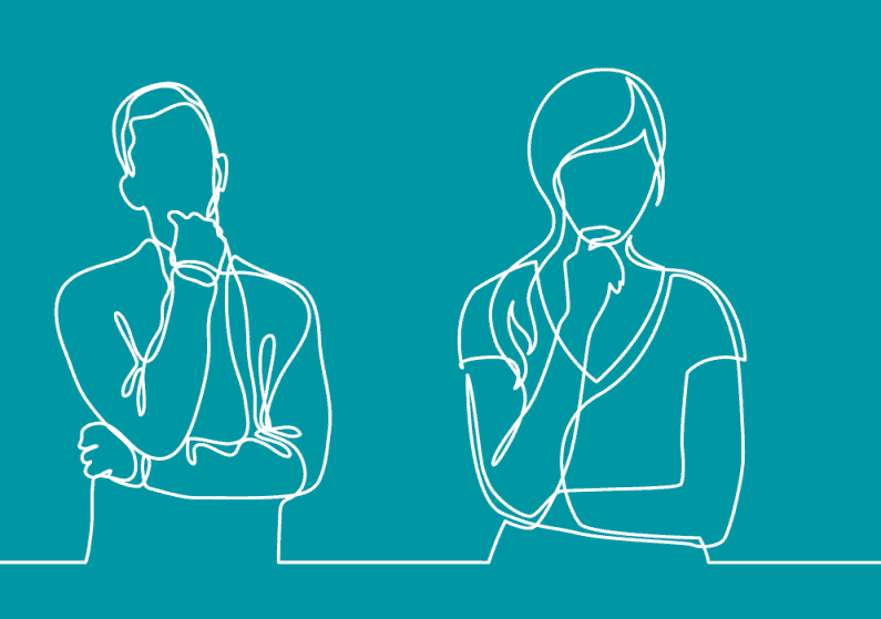 Continuous line illustration of 2 people thinking