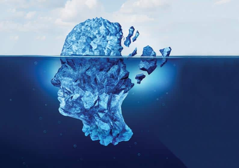 Illustration of head made of ice and broken off from the back due to concussion