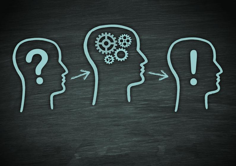 Illustration of 3 heads with various marks within on a chalkboard-like textured background