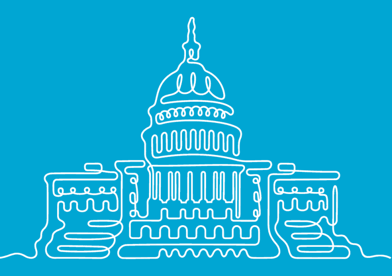 Continuous line illustration of the Capital building