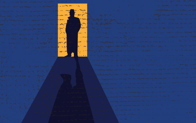 Illustration of an investigator's silhouette appearing in open doorway