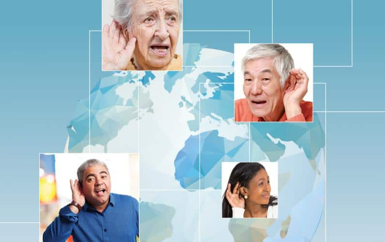 Collage of diverse group of hearing impaired people overlaying an illustrated globe