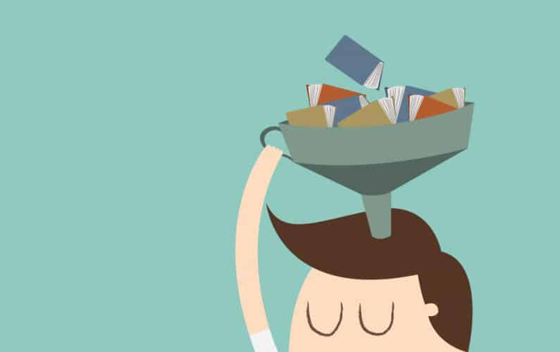 Close-up illustration of person filling the top of the head with book knowledge