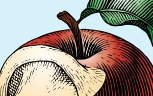 Illustration of an apple with a bite that is shaped like an ear