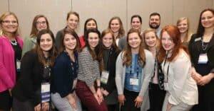 Starkey Hearing Technologies representatives with recipients of the 2017–2018 SAA HEAR Chapter grants at the AAA 2018 SAA Membership Meeting