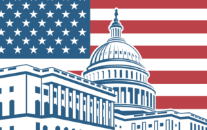 Illustration of the capital building in front of the US flag