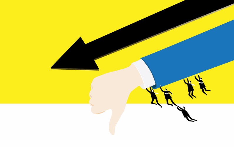 Illustration of a large hand with a thumbs down and a group of business guys holding onto the sleeve