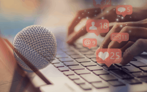Photo collage of person accessing social media on a laptop overlaid with a microphone