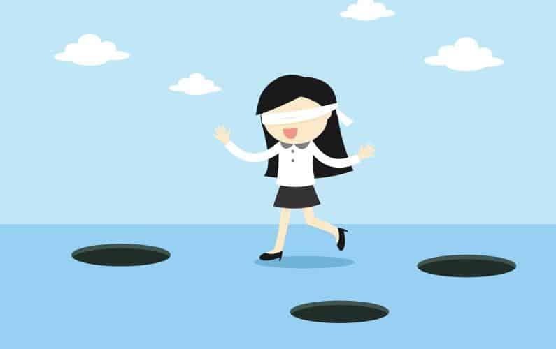 Illustration of blind-folded woman avoiding pot holes