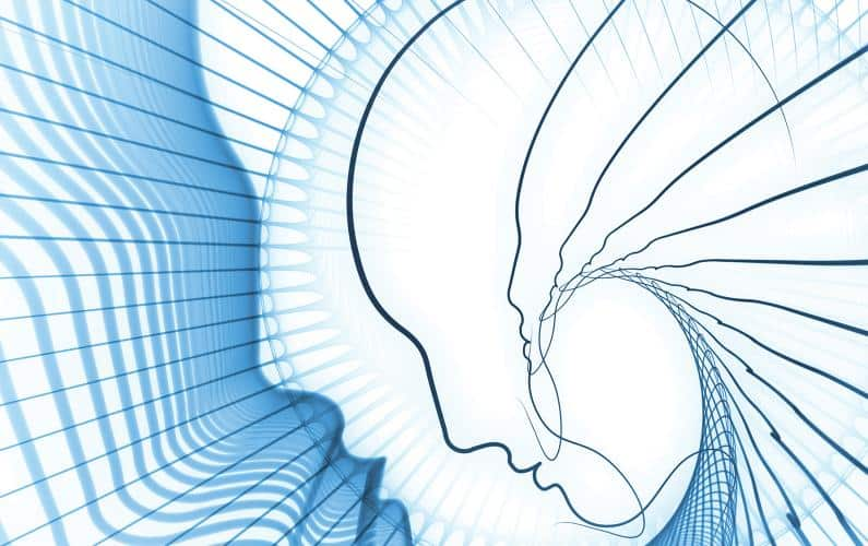Abstract illustration of person and soundwaves