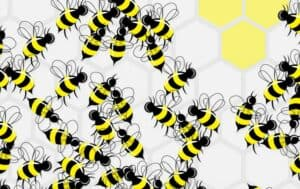 Illustration of bees on honeycomb shapes