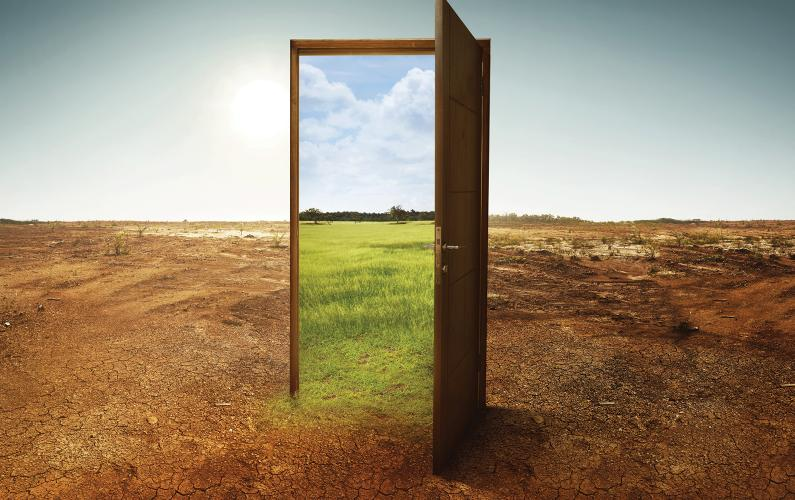 Abstract photo of open door outside that reveals positive horizon