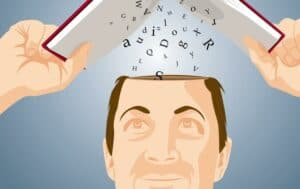 Illustration of man holding book over head and absorbing knowledge into the top of head