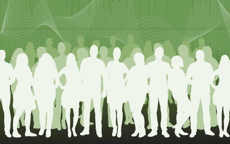 Illustration of group of audiologists in front of soundwave