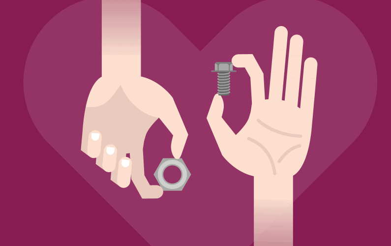 Illustration of one hand holding nut while second hand holds bolt in front of a large heart
