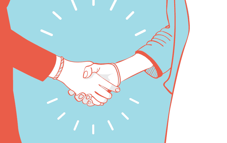 Illustration of 2 people hand shaking with introduction