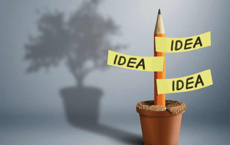 A photo illustration of a pencil with ideas attached to it and showing tree in the shadow