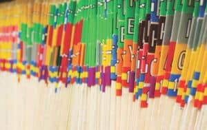 Close-up photo of patients files