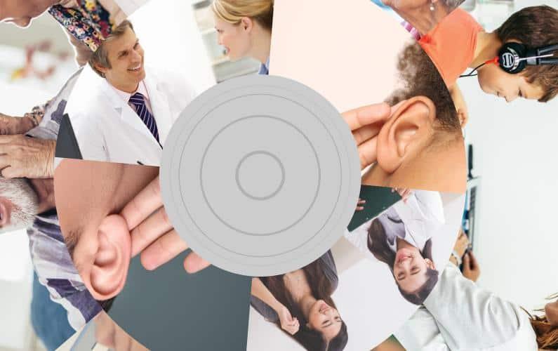 Circular photo collage of patient consultation