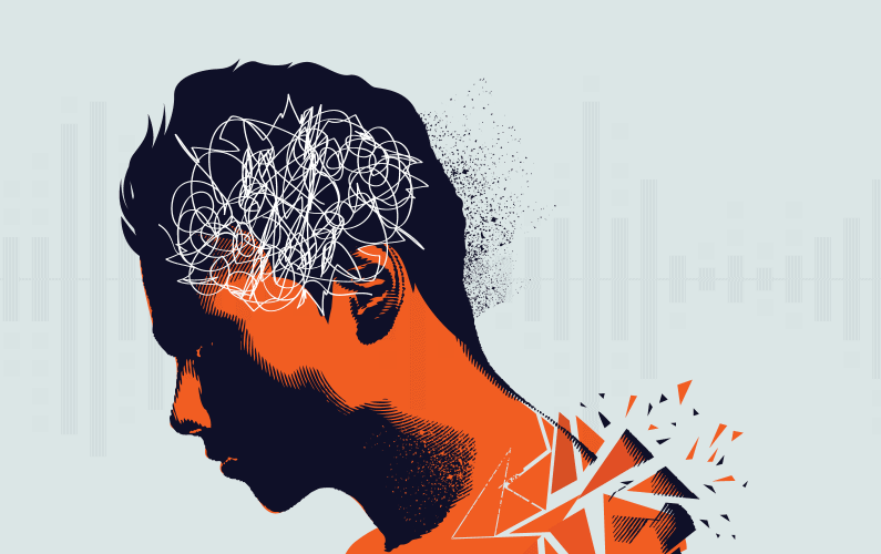 Illustration of young adult coping with tinnitus and hyperacusis
