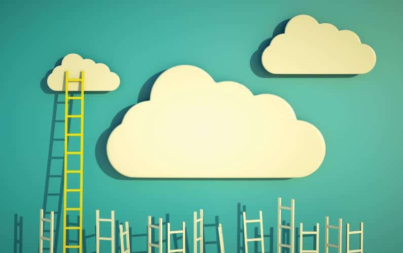 Illustration of a ladder reaching the clouds with many shorter ladders below