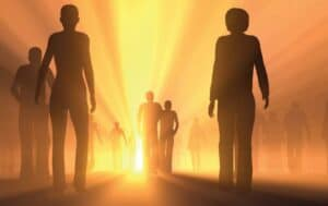 Illustrated group of students walking into a bright light
