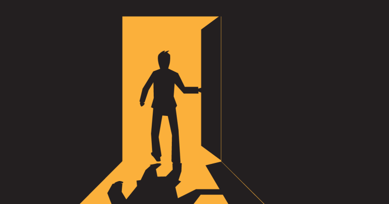 Illustration of a man escaping a room