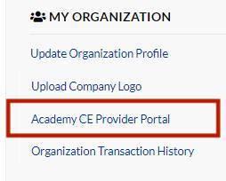 CE Provider Portal Instructions